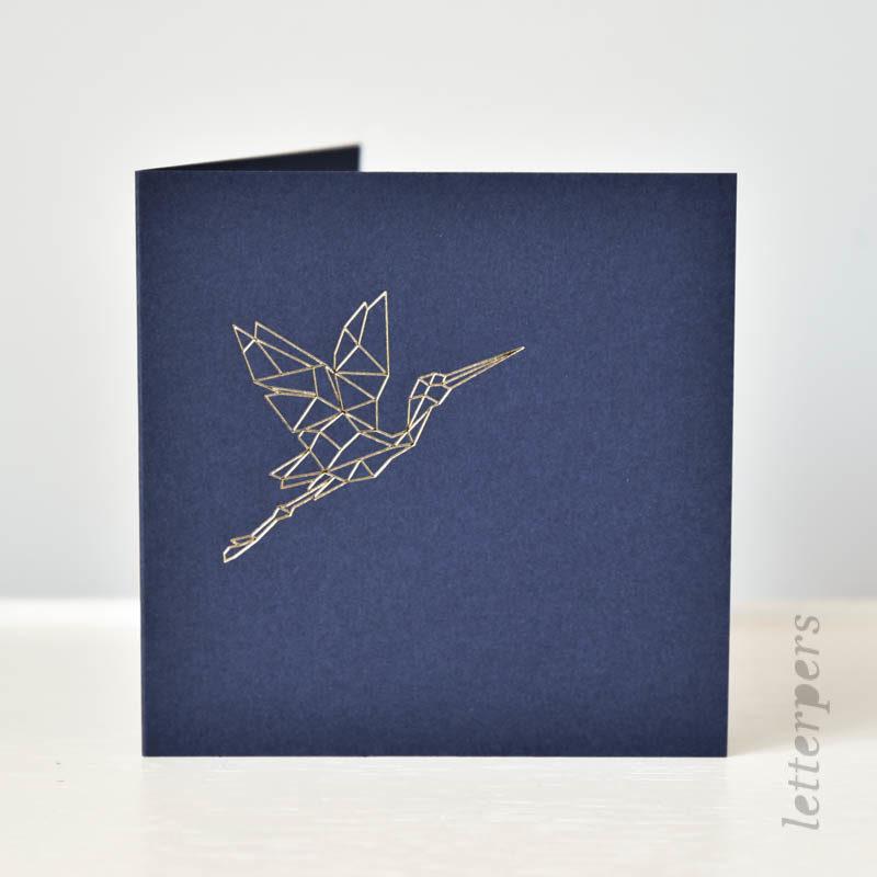 Kraanvogel origami donkerblauwe kaart