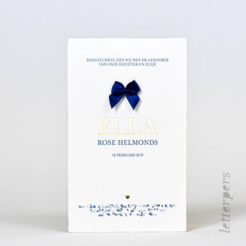 klassiek meisjes geboortekaart blauw strikje