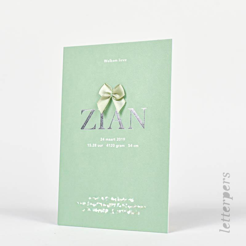 groen zian kaartje met zilver folie
