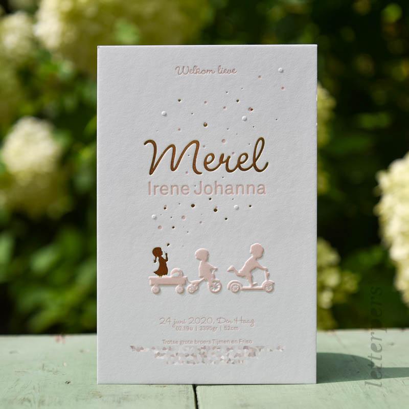 Geboortekaartje voor Merel met glimmend goudfolie