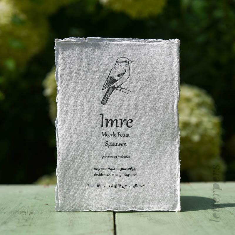 Geboortekaartje op Khadi papier voor Imre, met een vogeltje.