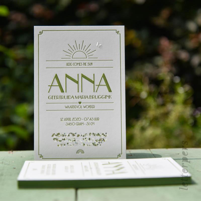 Geboortekaartje voor Anna in een groene kleur