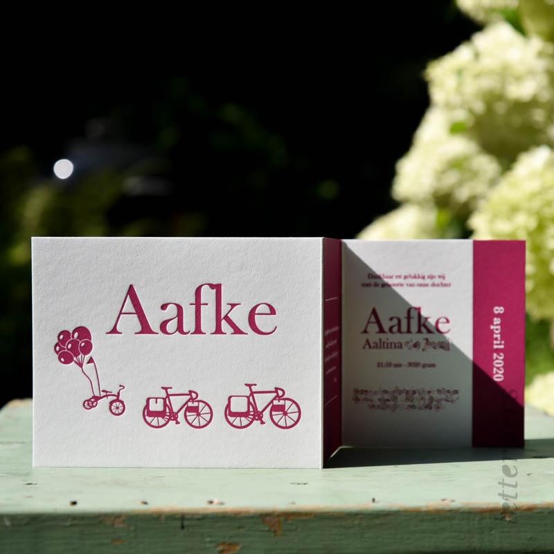 Geboortekaartje Aafke met dubbele vouw