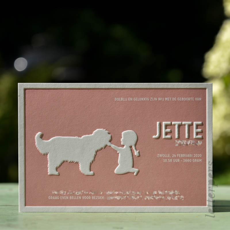 Geboortekaartje Jette met meisje en een hond