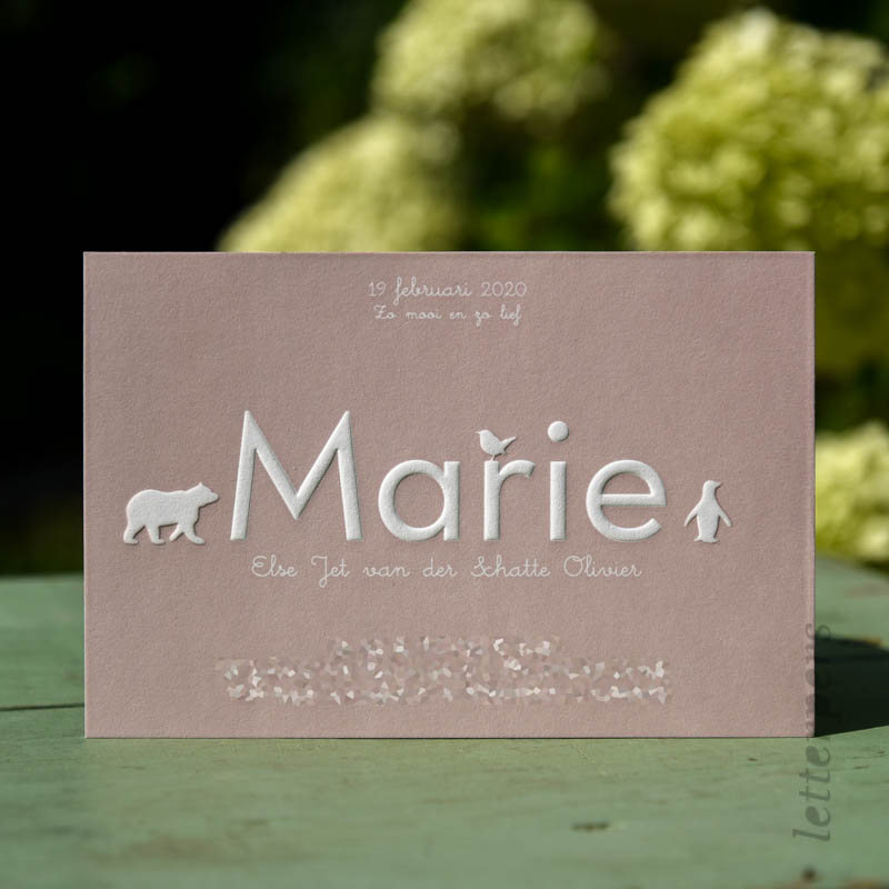 Geboortekaartje Marie met diertjes