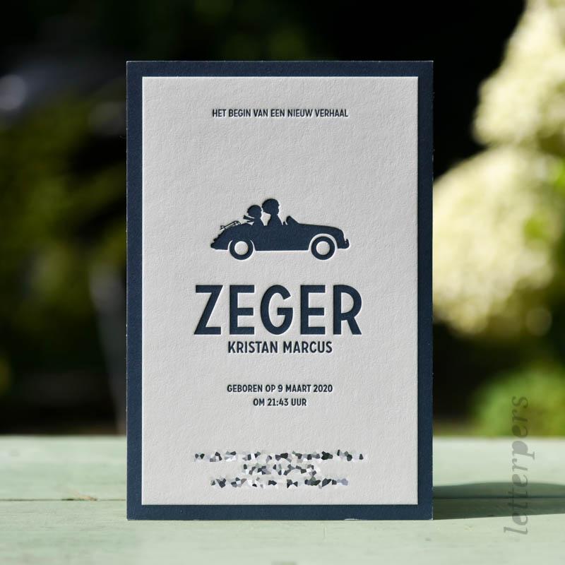 Geboortekaartje Zeger met speelgoed auto