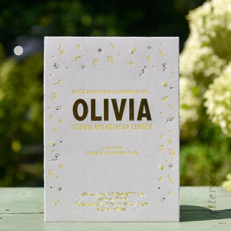 Geboortekaartje Olivia met goudfolie