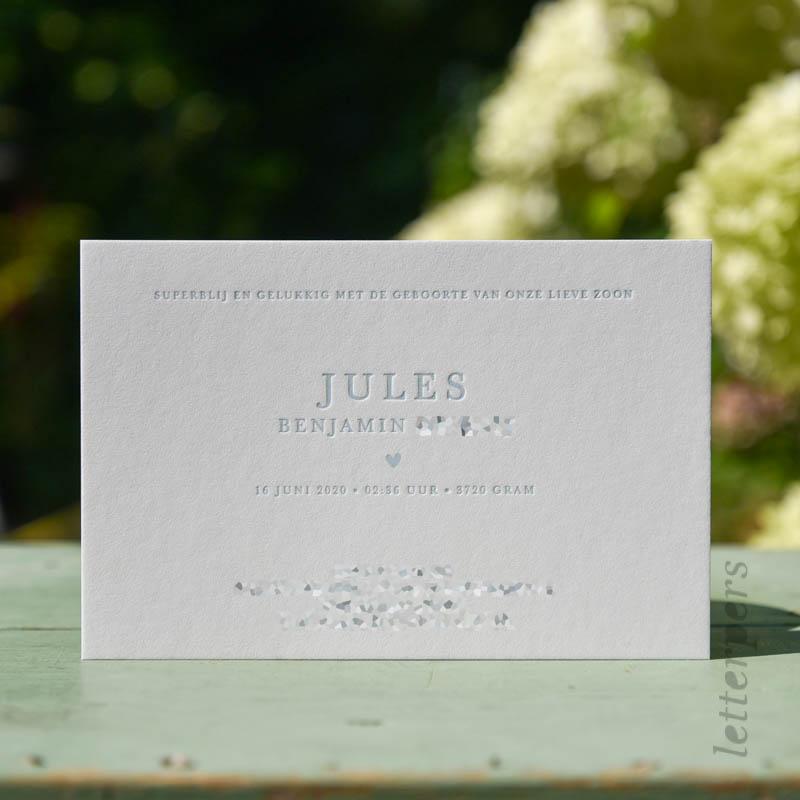 Geboortekaartje Jules in oudblauwe kleur