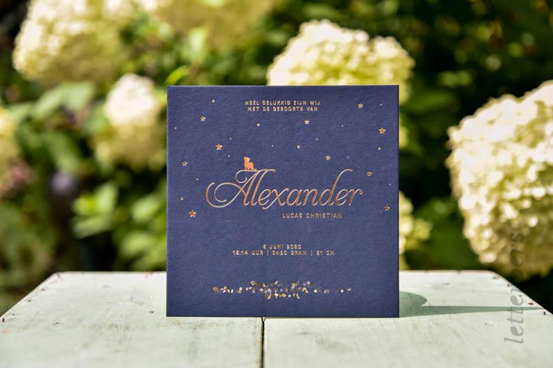 Geboortekaartje Alexander met koperfolie