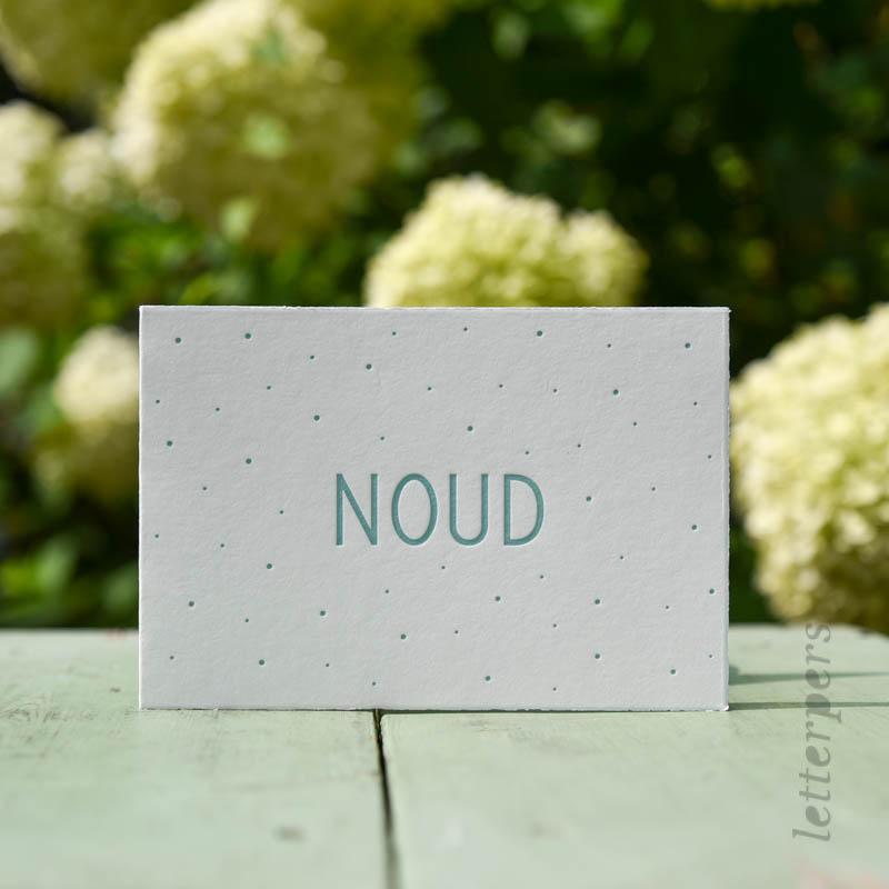 Geboortekaartje Noud met blauwe stipjes