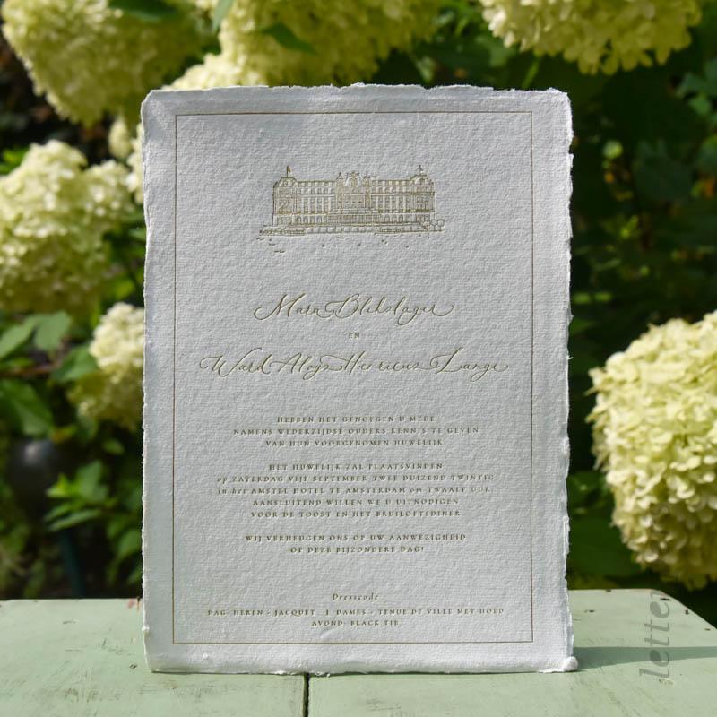 handgeschept romantische trouwkaart