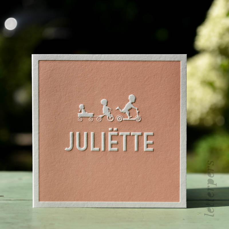 Geboortekaartje Juliëtte met drie kindjes