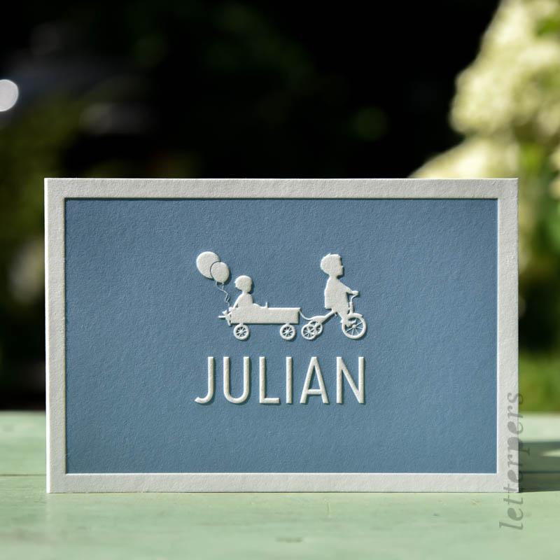 Geboortekaartje Julian met twee kindjes