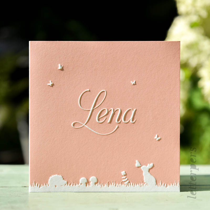 Vierkant geboortekaartje Lena met bosdieren