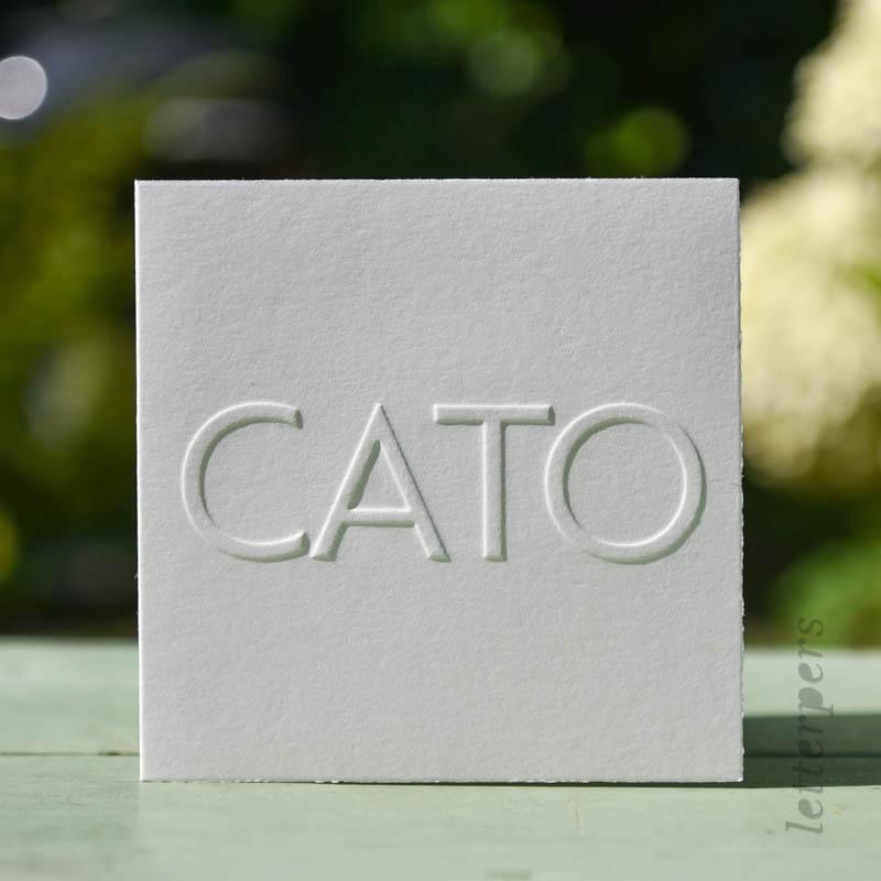 geboortekaartje Cato met gestanste letters