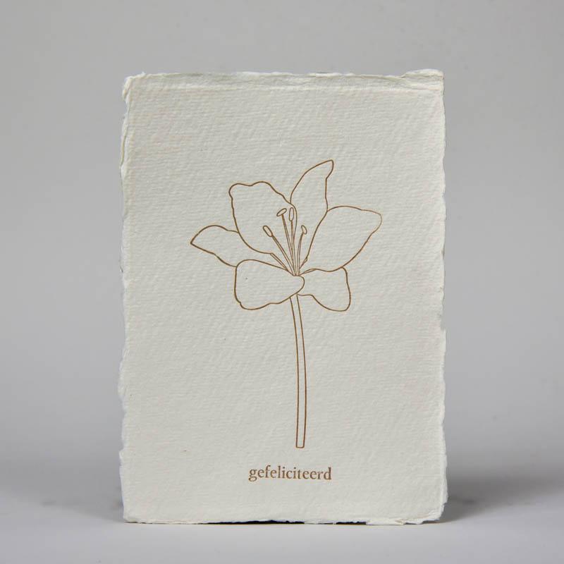 Wenskaart gefeliciteerd met bloem