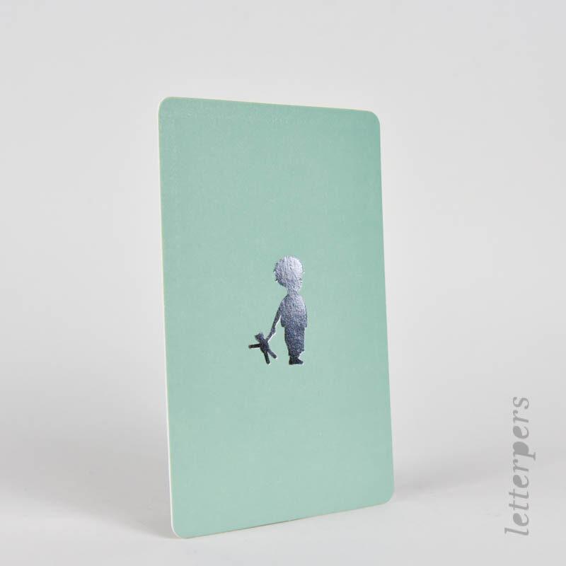 groen met zilver wenskaartje voor een jongetje