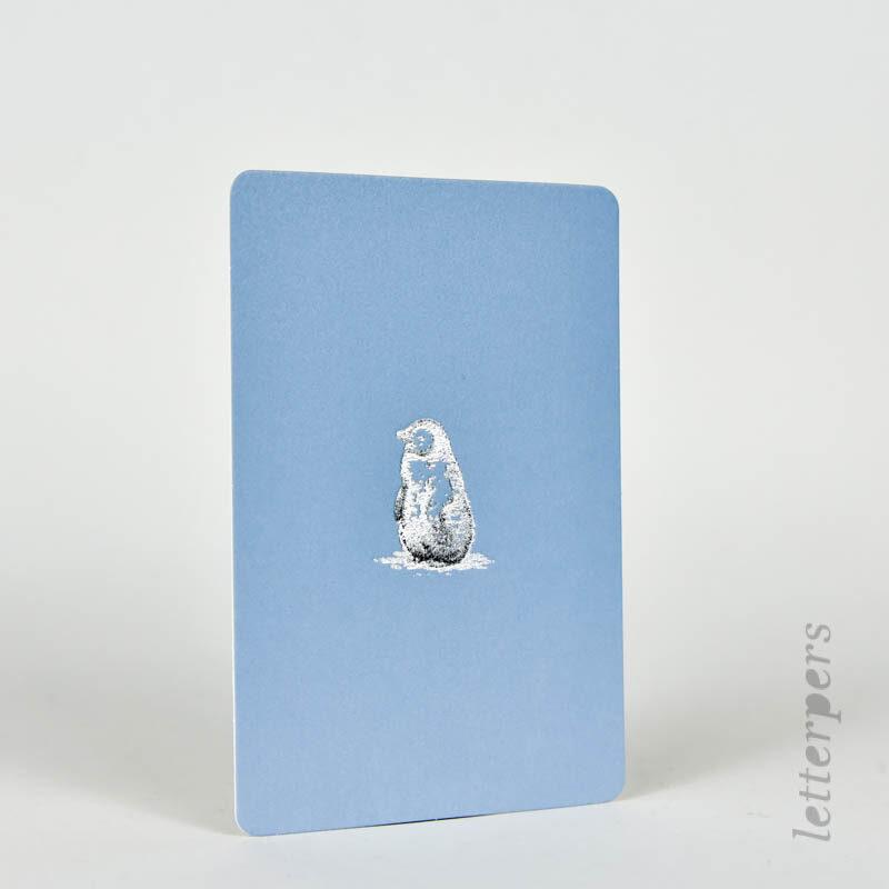 pinquin zilver met korenblauwe kaartje
