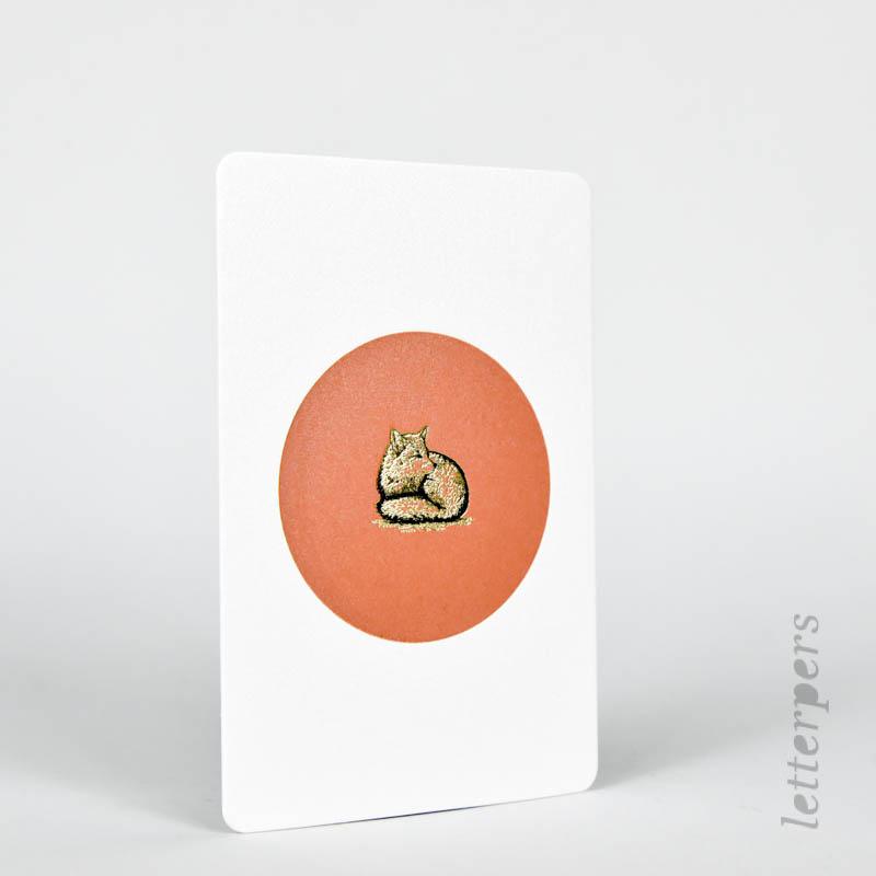 terracotta kaartje met een gouden vosje