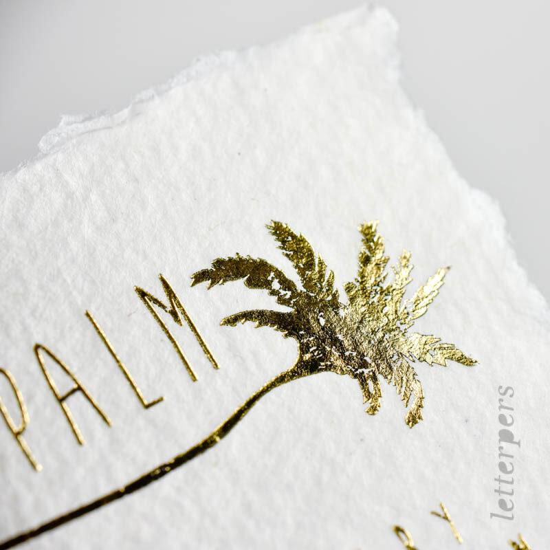 business kaart letterpers handgeschept met goud